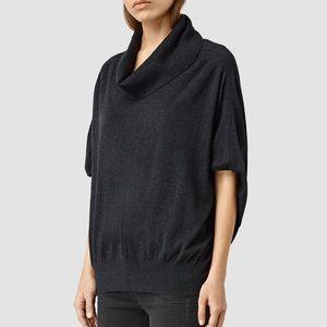 All Saints Elis Cowl Neck Sweater Top Black Cotton